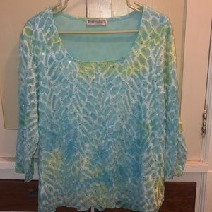 Gorgeous blue and green sequined top